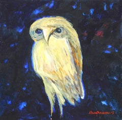 "The Owl, Goddess Laxmi's Consort, Oil & Acrylic Painting, Blue, Yellow""In Stock"""