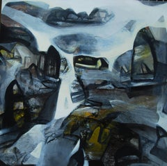 "Cityscapes of Benaras, Abstract, Charcoal, Acrylic, Oil, White, Blue ""In Stock"""