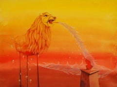 "Lion, Animal, Mixed Media on paper, Red, Yellow by Indian Artist ""In Stock"""