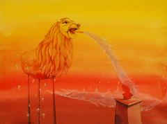 Angry lion, animal, Mixed Media in red, yellow color by Contemporary Pratul Dash