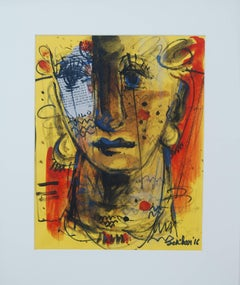 """Face, Expression, Mood, Depicting Calmness, Mixed Media, Indian Artist""""In Stock"""""""