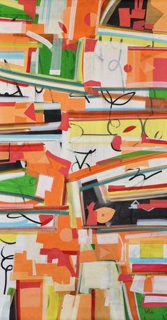 "Abstract Painting, Band of colors, Acrylic on canvas by Indian Artist ""In Stock"""