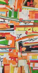 """Abstract Painting, Band of colors, Acrylic on canvas by Indian Artist """"In Stock"""""""