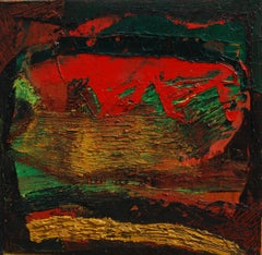 """Abstract, Acrylic & Oil on Canvas, Red, Green, Brown by Indian Artist """"In Stock"""""""