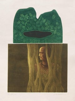 "Etching in Green & Brown by Contemporary Indian Artist ""In Stock"""