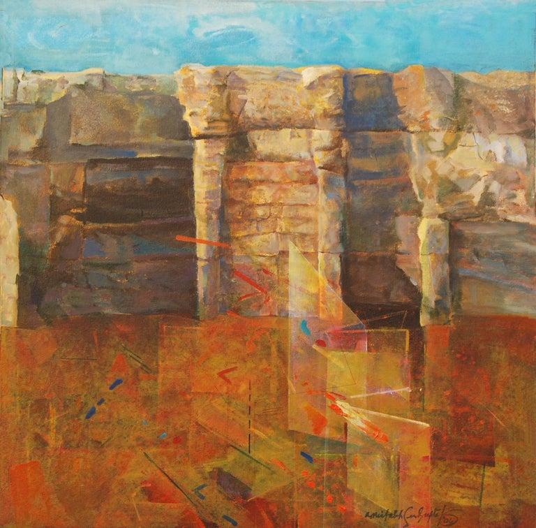 Rock Series, Abstract, Oil in Blue, Brown by Modern Artist Amitabh Sengupta