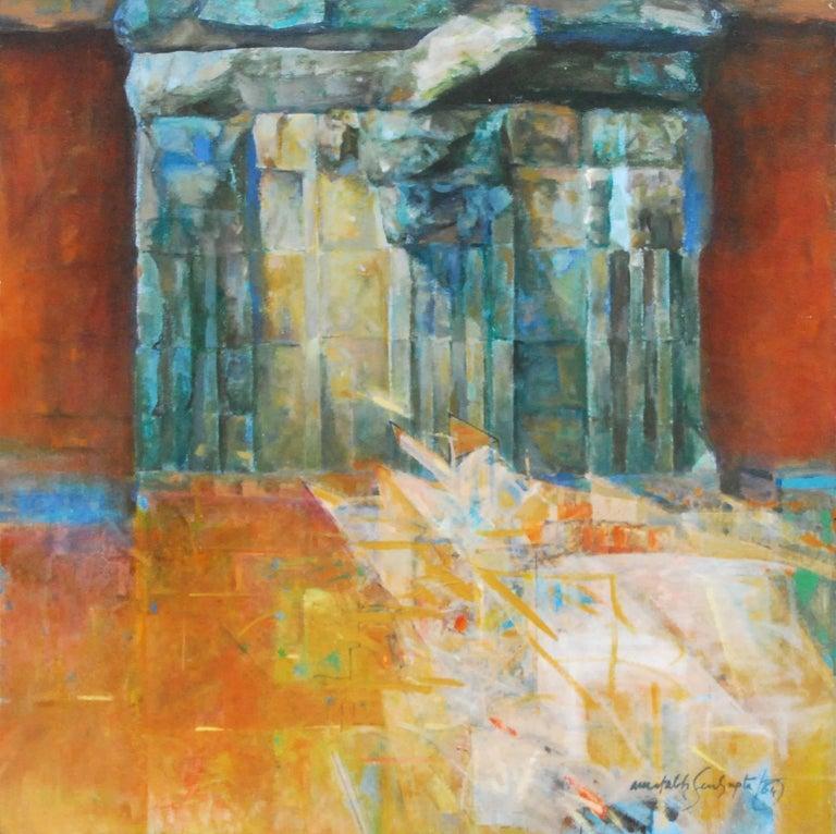 Rock Series II, Abstract, Oil on canvas by Indian Artist Amitabh Sengupta
