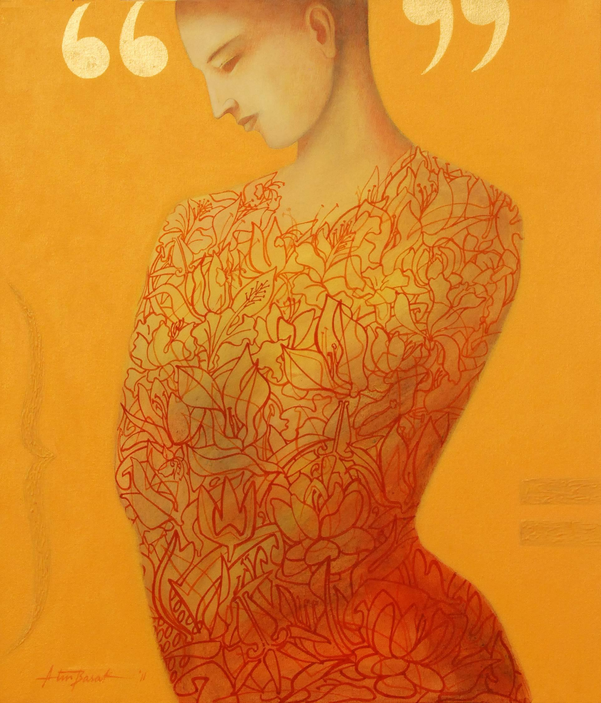 """Women, Acrylic Painting, Orange, Red, Yellow colors by Indian Artist """"In Stock"""""""