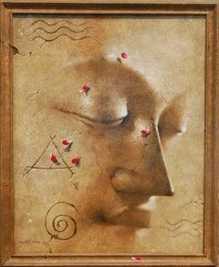 "Yugpurush, Buddha, enlightened Man, Acrylic, Brown by Indian Artist ""In Stock"""