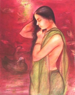 "Lotus Pond, Bathing Bengali Women, Mixed Media, Watercolor, Red, Green""In Stock"""