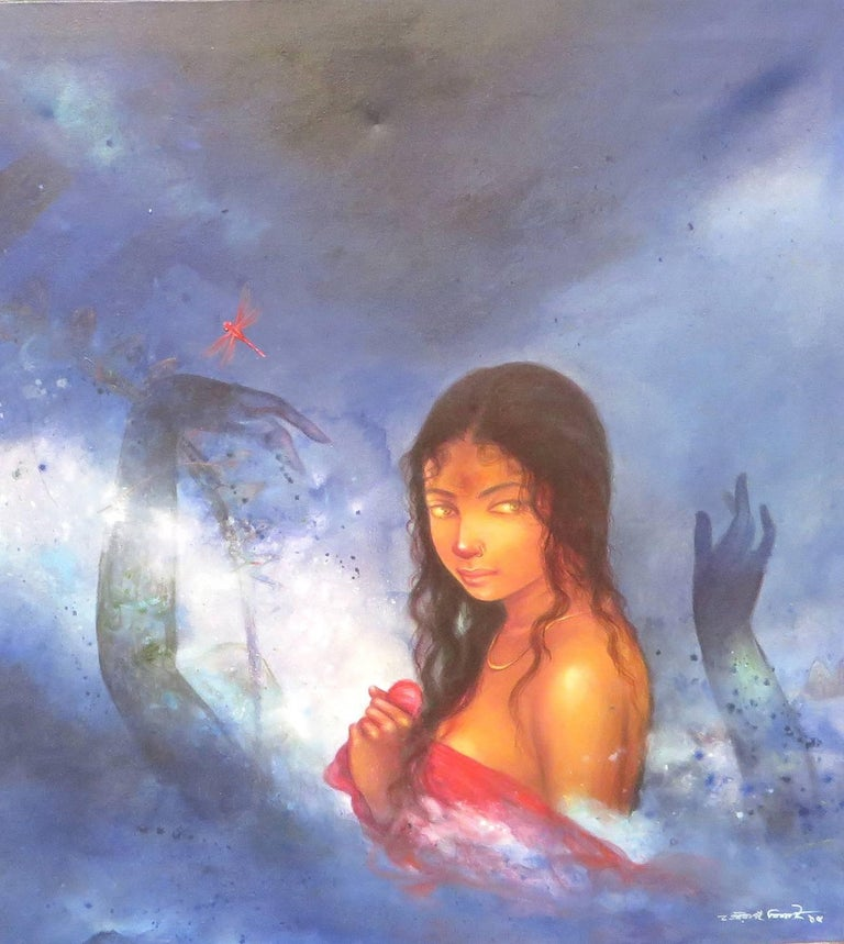 "Gaurango Beshai  Portrait Painting - Devi, Bathing Bengali Woman, Acrylic, Mixed Media by Indian Artist ""In Stock"""