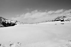 "Snowy Hills Beauty, Black and White Photography by Indian Artist ""In Stock"""