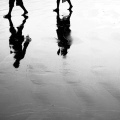 "Walking in a Sea Beach, Black and White Photography by Indian Artist ""In Stock"""