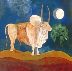Bull, moonlight, blue sky, acrylic in white, brown, green by Contemporary Artist