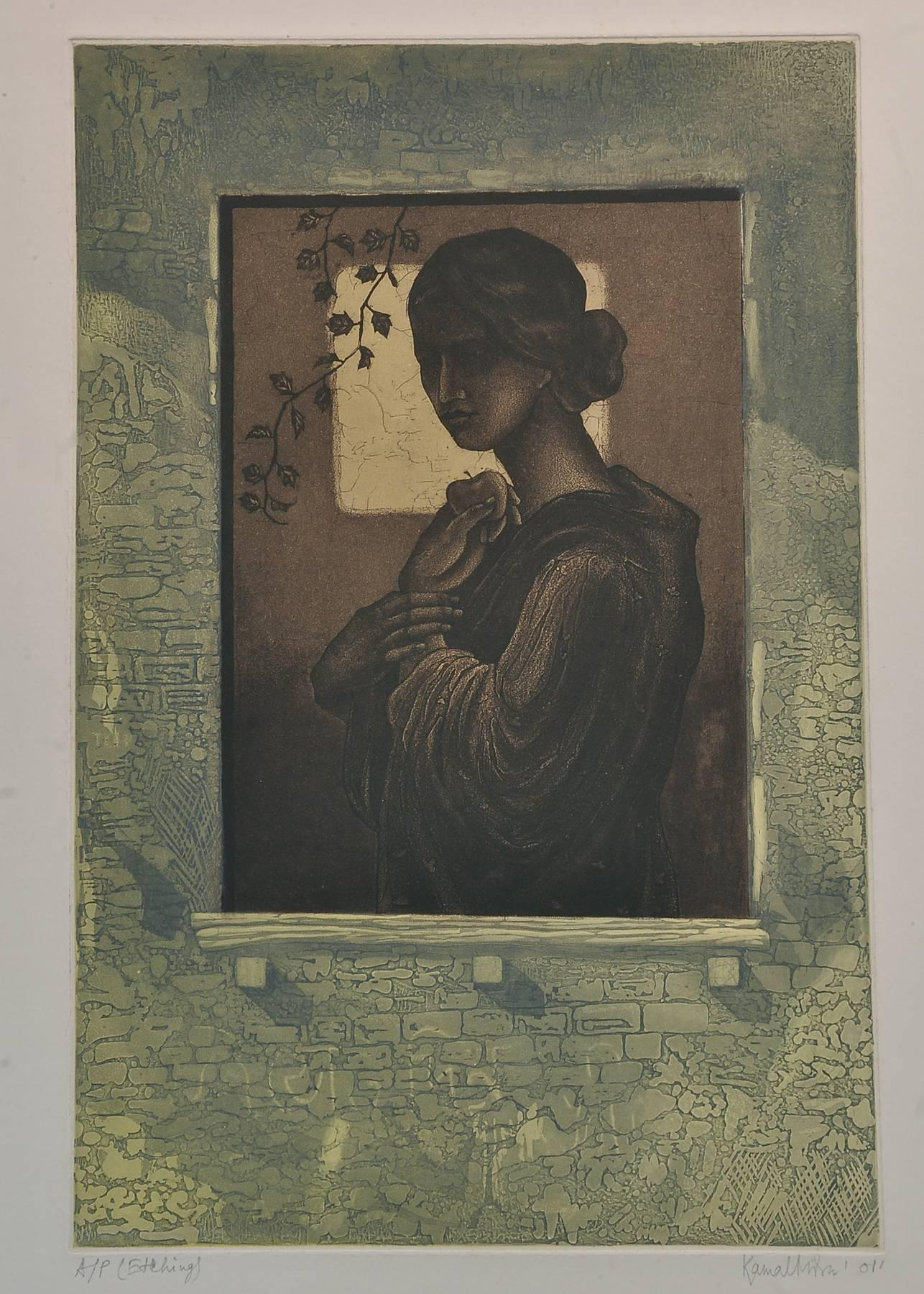 """Woman standing beside Window, Etching on paper, Green, Brown, Black """"In Stock"""""""