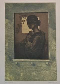 "Woman standing beside Window, Etching on paper, Green, Brown, Black ""In Stock"""