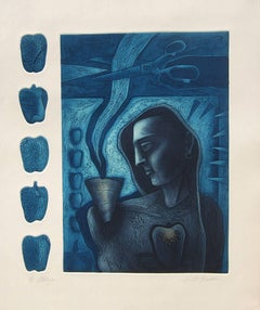 "Figurative, Etching on paper, Deep Blue, Black by Indian Artist ""In Stock"""