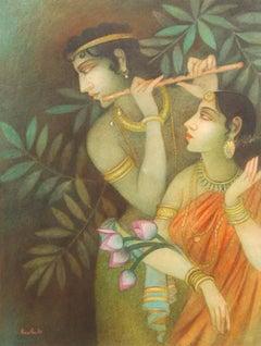 "Krishna & Radha, Mythology, Tempera on canvas, Red,Pink, Green, Yellow""In Stock"""