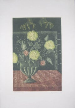 "Flower Vase, Etching on paper, Green, Brown colors by Indian Artist ""In Stock"""