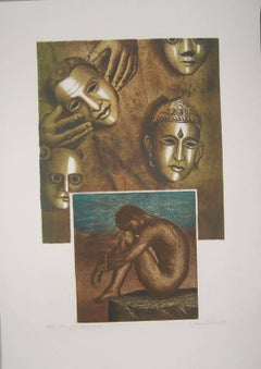 "Nude, Face, Etching, Lithograph on paper, Brown, Blue by Indian Artist""In Stock"""