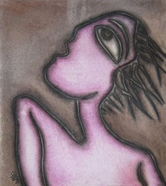 """Women, Large Fish shaped Eyes, Pastel Painting, Influenced by Picasso""""In Stock"""""""