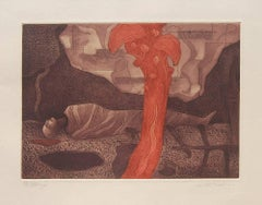 "Etching on paper, Brown, Red colors by Contemporary Indian Artist ""In Stock"""