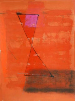 """Abstract, Mixed Media, Red, Orange by Son of the Artist J.Swaminathan """"In Stock"""""""