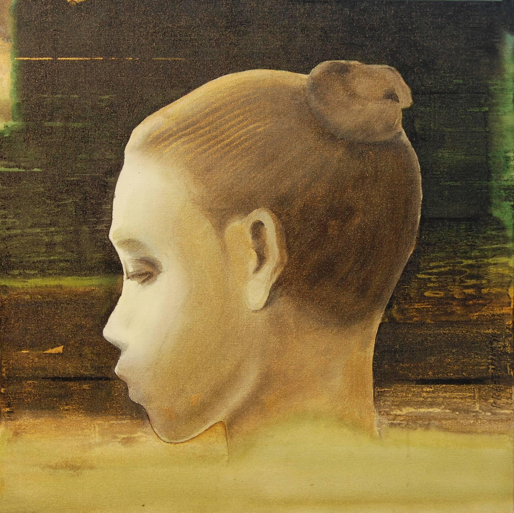 """Figure of Women, Painting, Oil, Acrylic on Canvas, Brown, Green, Grey """"In Stock"""""""