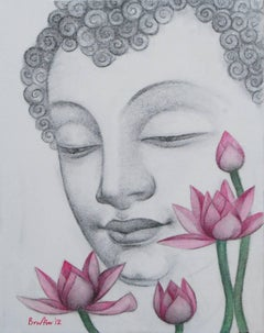 "Enlightened, Buddha, Charcoal, Pastel on canvas, Black, Pink, Green ""In Stock"""