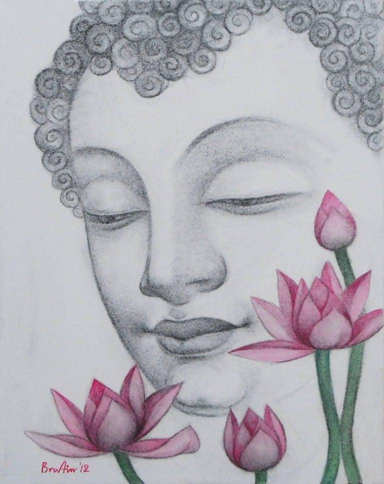 "Bratin Khan Figurative Art - Enlightened, Buddha, Charcoal, Pastel on canvas, Black, Pink, Green ""In Stock"""