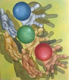 """Play, Balls, Acrylic on Canvas, Blue, Red, Green by Indian Artist """"In Stock"""""""