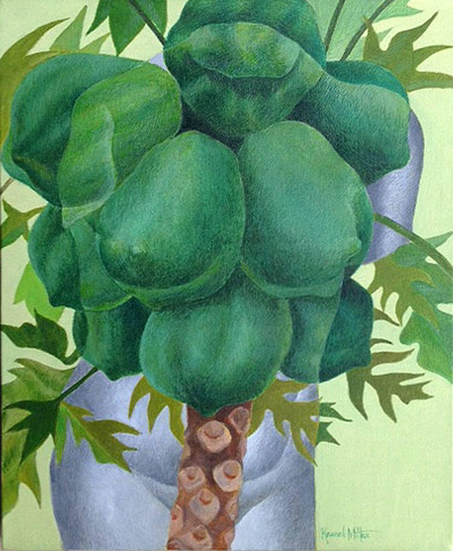 """Fruits, Acrylic on Canvas, Green, Blue, Brown by Indian Artist """"In Stock"""""""