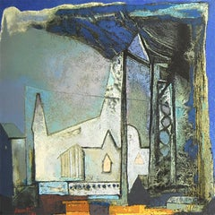 "Structures, Cityscapes, Houses, Oil on Canvas , Blue and White Color ""In Stock"""