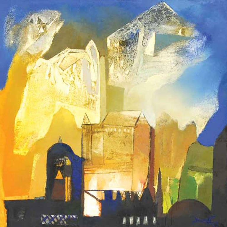 """Somenath Maity Abstract Painting - Structures, Painting, Oil on canvas, Band of colors by Indian Artist """"In Stock"""""""