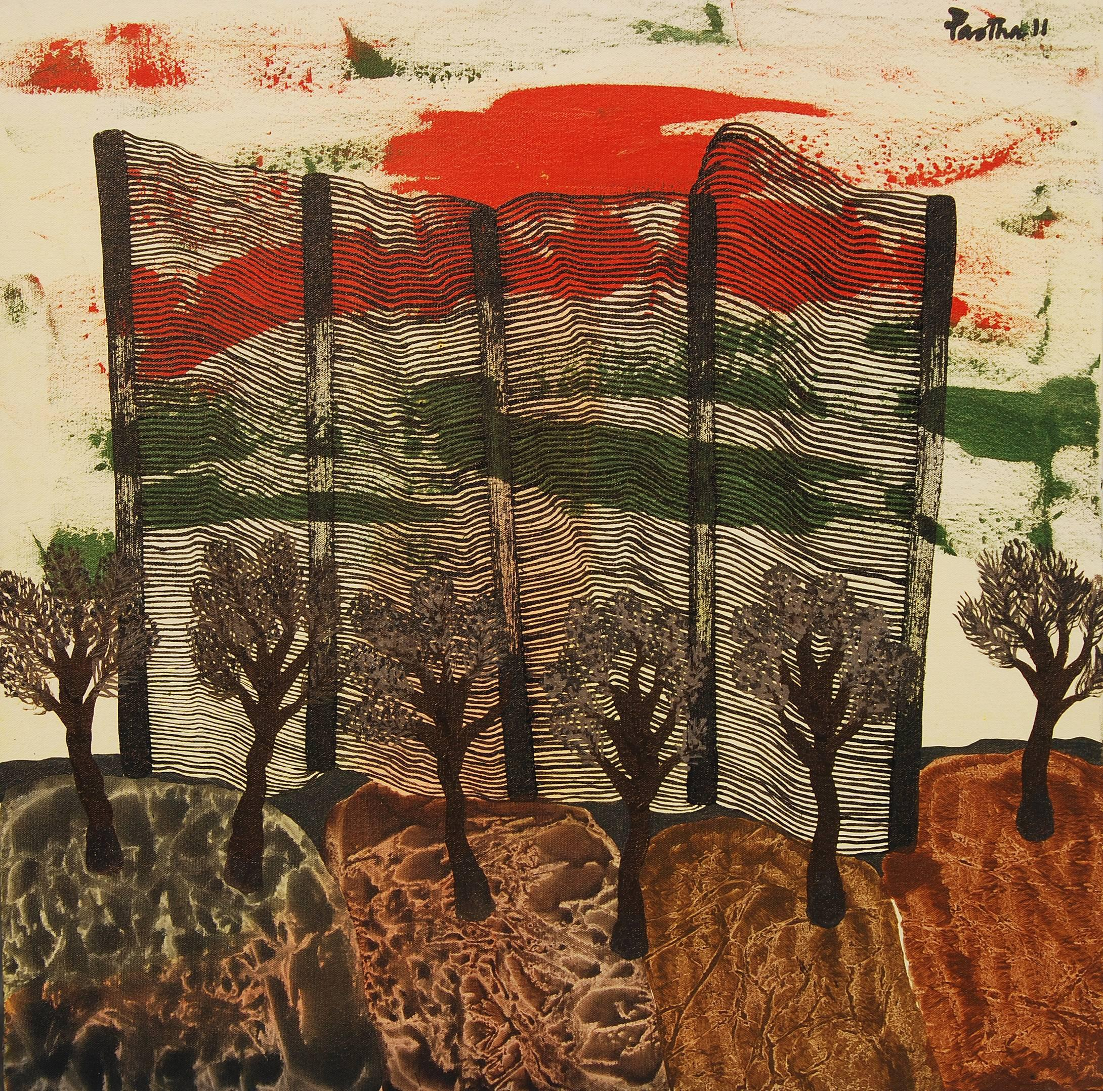 """Abstract Painting, Acrylic, Red, Green, Brown colors by Indian Artist """"In Stock"""""""