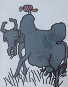 "Mixed Media Cow, Animal, Blue, Black, Pink by Master Indian Artist ""In Stock"""