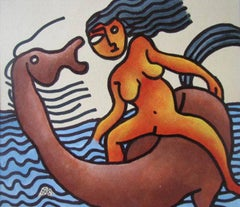 "Beach Series, Mixed Media, Orange, Brown, Blue by Modern Indian Artist""In Stock"""