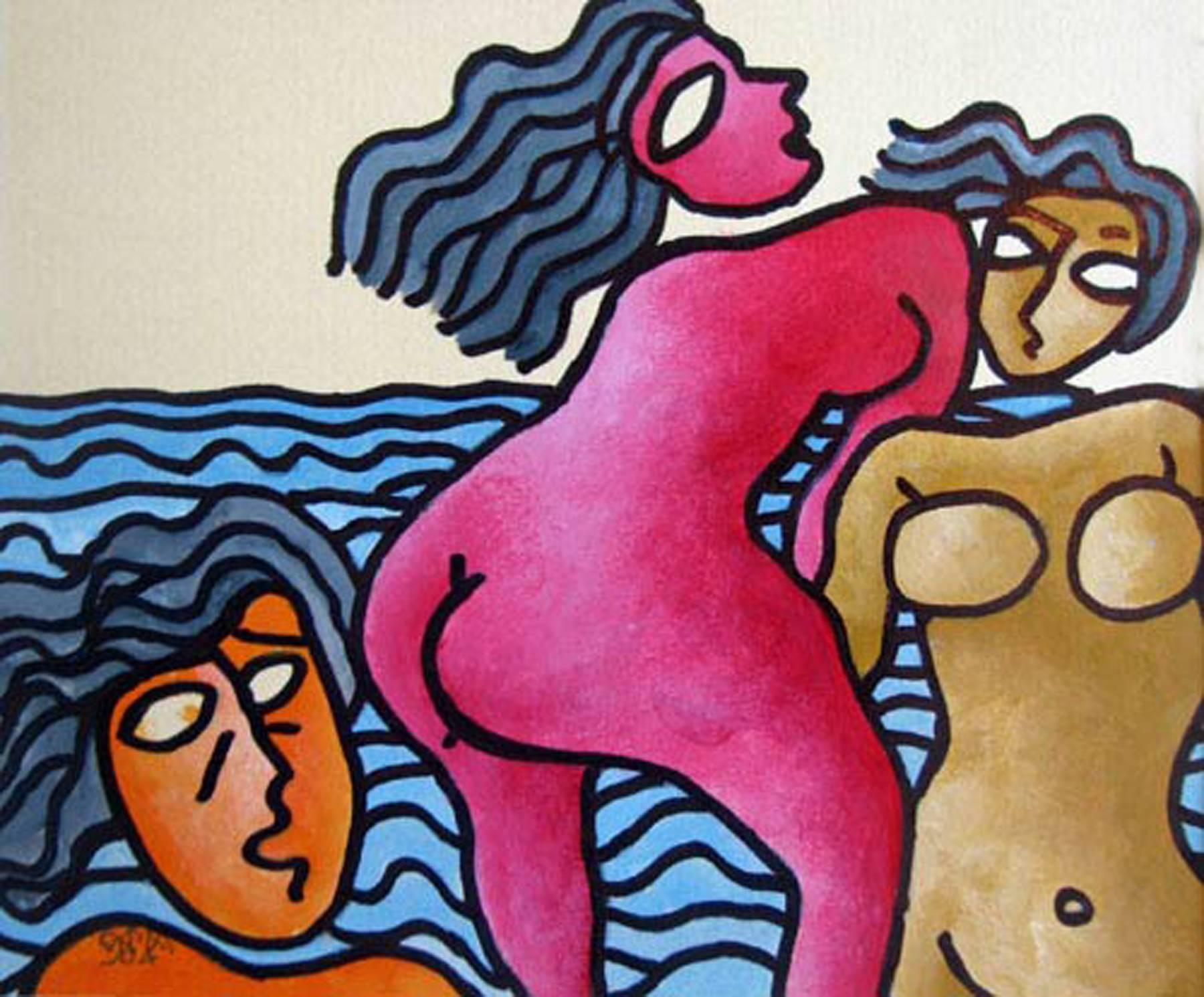 """Beach Series, Mixed Media on Paper, Red, Blue by Master Indian Artist """"In Stock"""""""