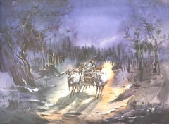 "Village Scene at Night, Cow Cart, Watercolor on Paper, Violet, Brown ""In Stock"""