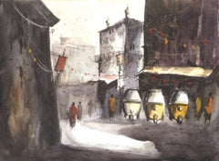 """Cityscape, Autorickshaw, Watercolor on Paper by Indian Artist """"In Stock"""""""