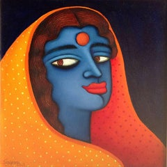 "Maya, Blue Women in Orange, Red Saree, Acrylic, Oil by Indian Artist ""In Stock"""