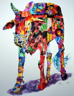 "Cow, Animal Painting, Watercolor on paper, Red, Green, Violet, Yellow ""In Stock"""
