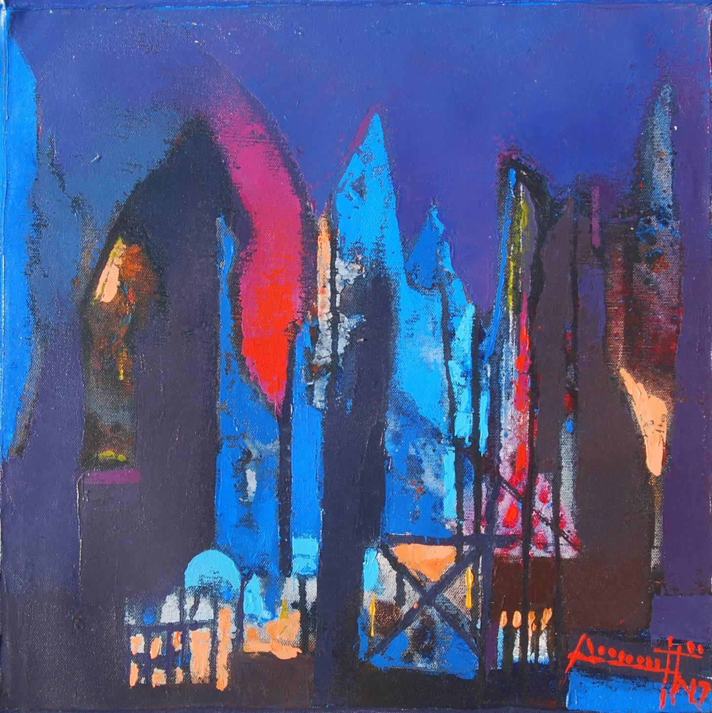 """Structure, Acrylic on Canvas by Contemporary Artist """"In Stock"""""""