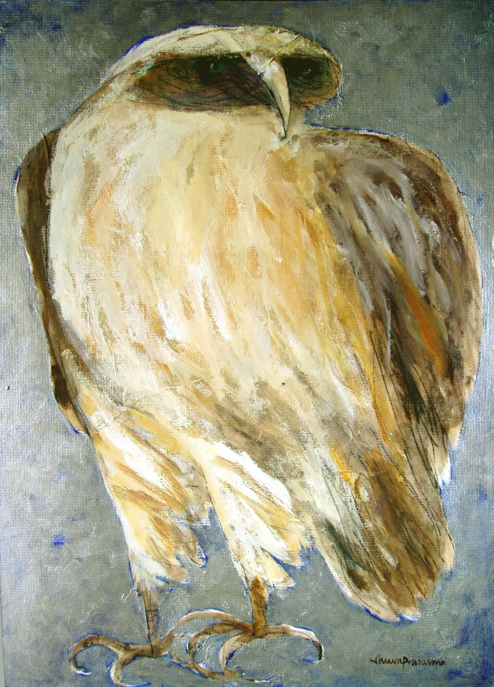 """The Owl, Acrylic, Charcoal and Oil on Board by Modern Artist """"In Stock"""""""