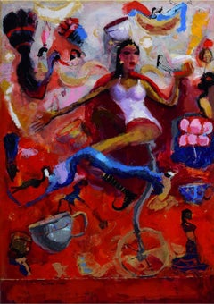 """Circus Rani, Acrylic on canvas by Contemporary Artist """"In Stock"""""""