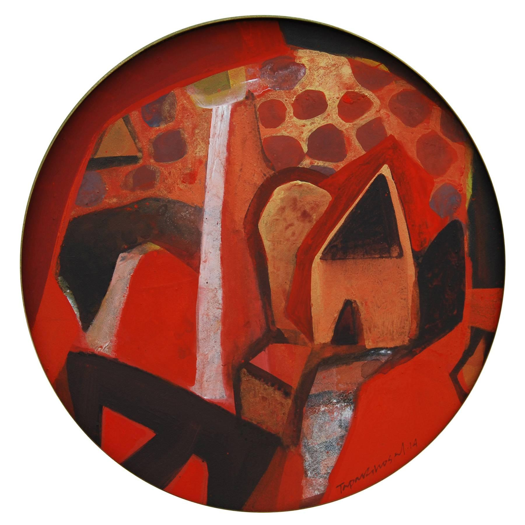 """Abstract, Round, Acrylic, Pastel, Pigment, Canvas, Red, Black, Brown """"In Stock"""""""