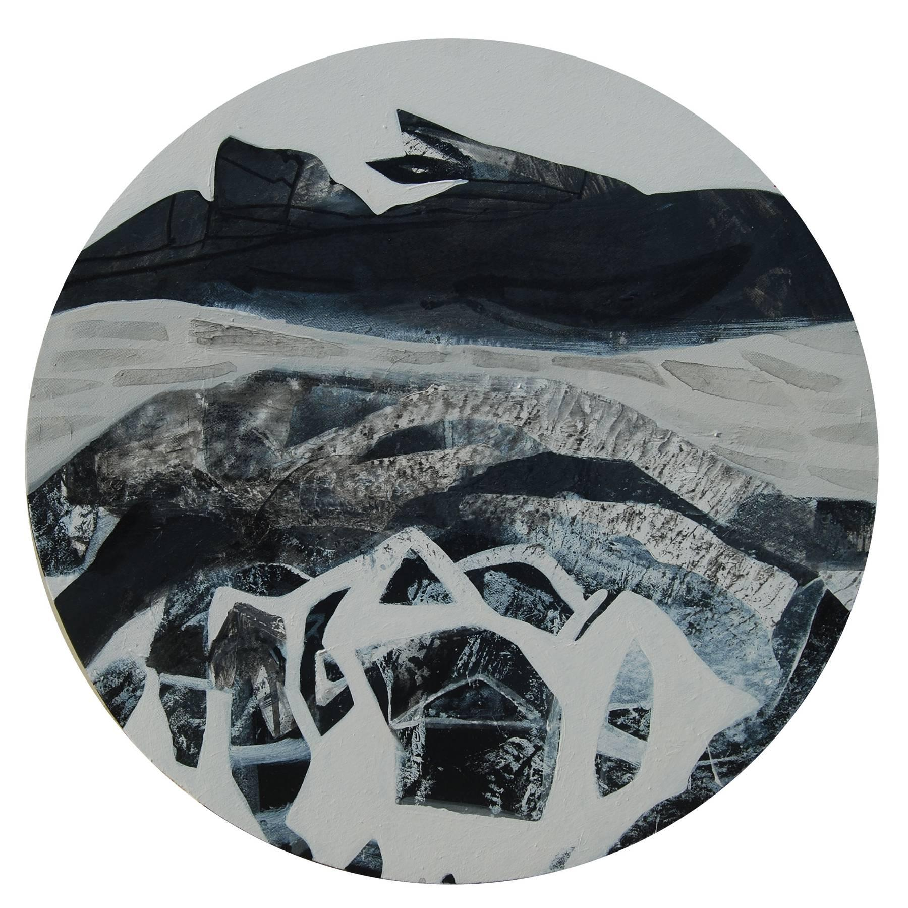 """Abstract, Round, Acrylic, Pastel, Pigment, Canvas, Blue, Black, White """"In Stock"""""""