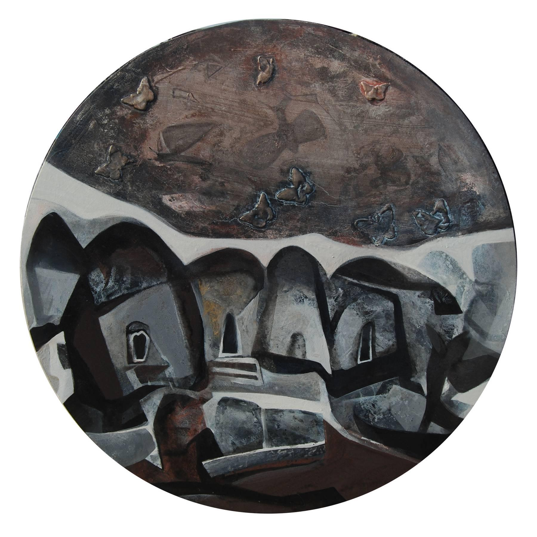 """Round, Abstract, Acrylic, Pastel, Pigment, Canvas, Brown, Black, White""""In Stock"""""""