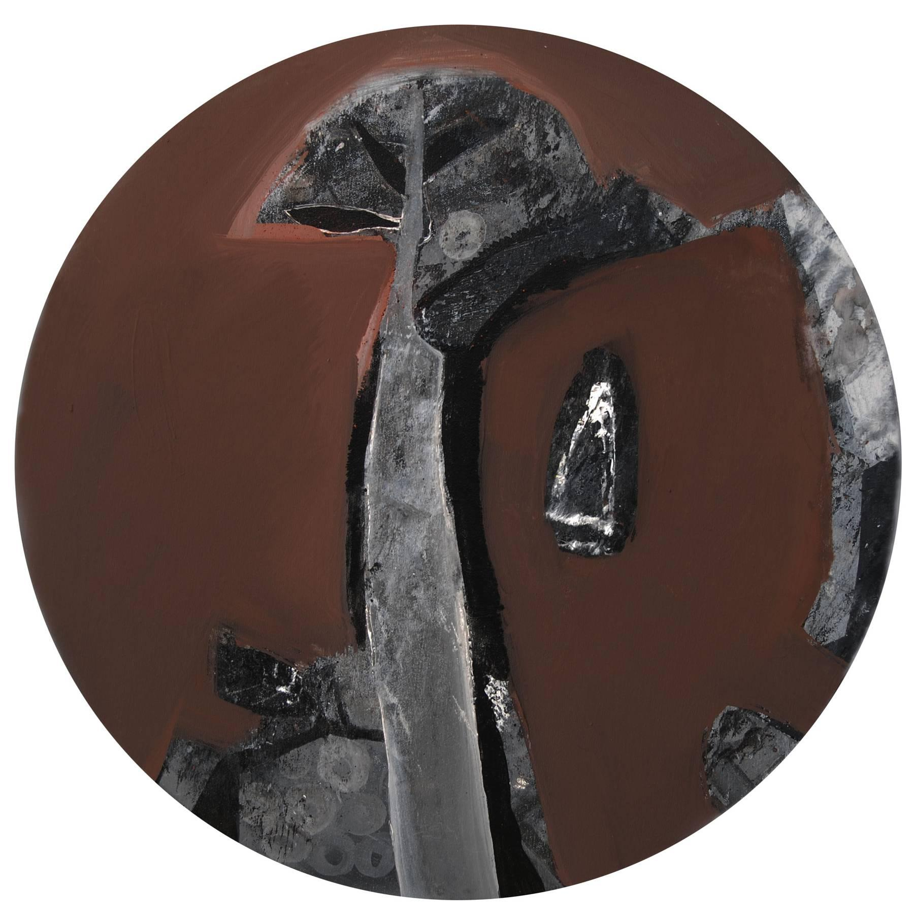 """Abstract, Round, Acrylic, Pastel, Pigment on Canvas, Brown,Black, Grey""""In Stock"""""""