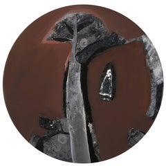 "Abstract, Round, Acrylic, Pastel, Pigment on Canvas, Brown,Black, Grey""In Stock"""